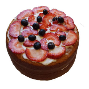 Zesty Lemon Cake with seasonal fresh berries